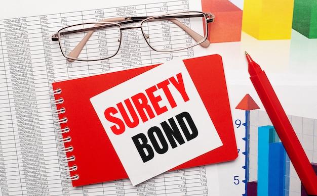 Okulary w złotej oprawie, czerwony długopis, kolorowe tablice i czerwony notes z białą kartką z napisem surety bond na pulpicie. pomysł na biznes. widok z góry