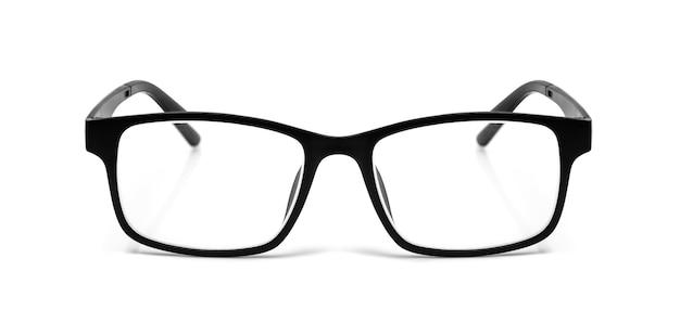 Okulary z czarnymi oczami na białym tle