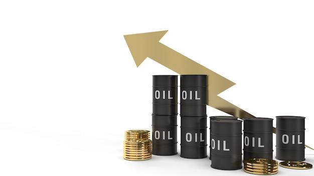 Olej do tankowania i złote monety renderowania 3d dla zawartości benzyny.