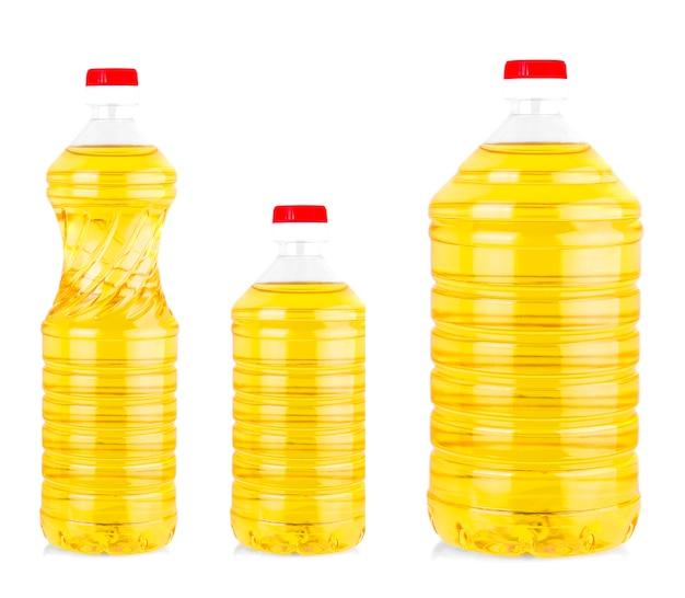 Olej roślinny lub słonecznikowy w plastikowych butelkach