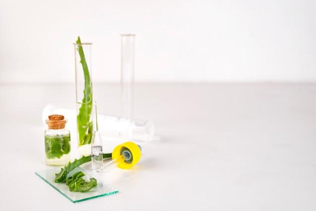 Olej z aloesu w szklanej butelce z pokrojonym żelem aloe vera