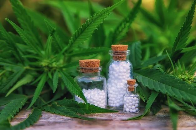 Olejek z marihuany w małej butelce. selektywne skupienie. natura.
