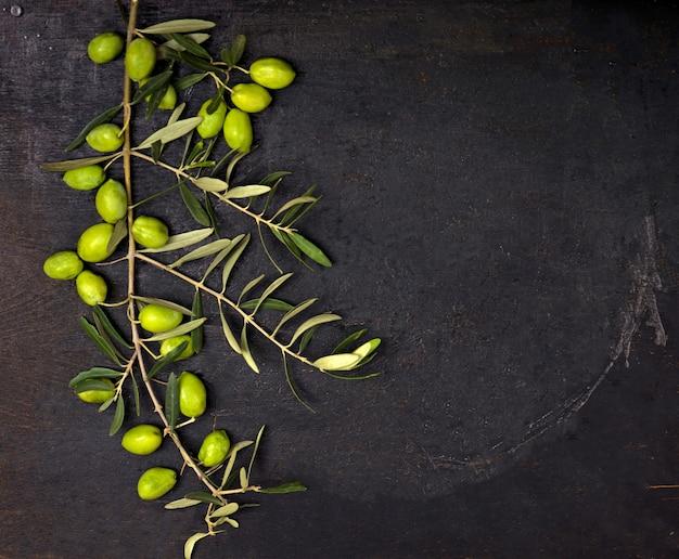 Oliwa z oliwek i gałązka oliwna na czarnej powierzchni