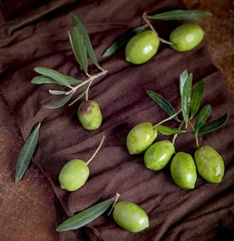 Oliwa z oliwek i gałązka oliwna na czarnym tle