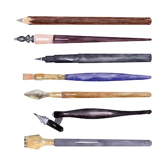 Ołówki akwarelowe, pędzle i przybory do pisania