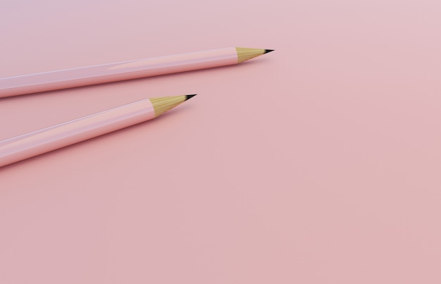 Ołówki na różowym tle