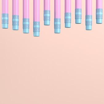 Ołówki z gumkami na różowym pastelu z miejscem na kopię. renderowanie 3d