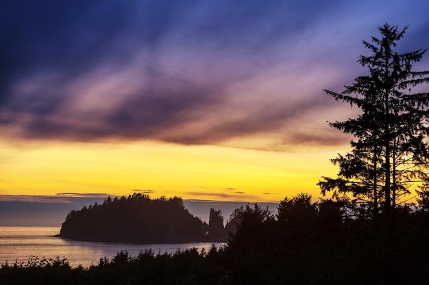 Olympic national park krajobrazy o zachodzie słońca