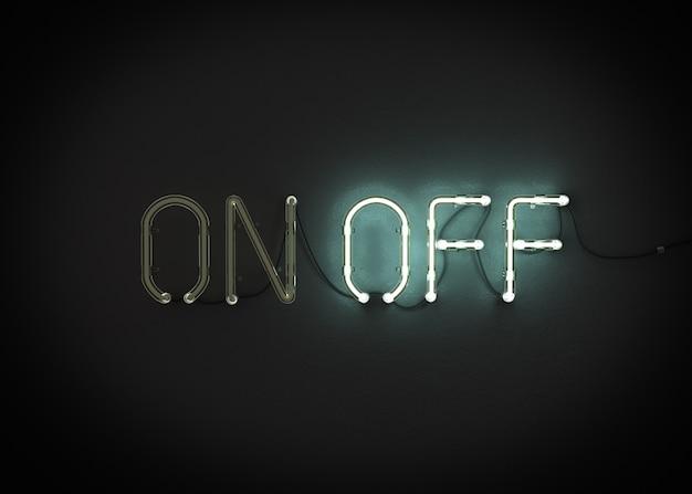 On and off neon światło podpisać renderowania 3d