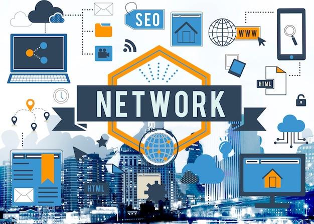 Online network połączenie z internetem digital concept