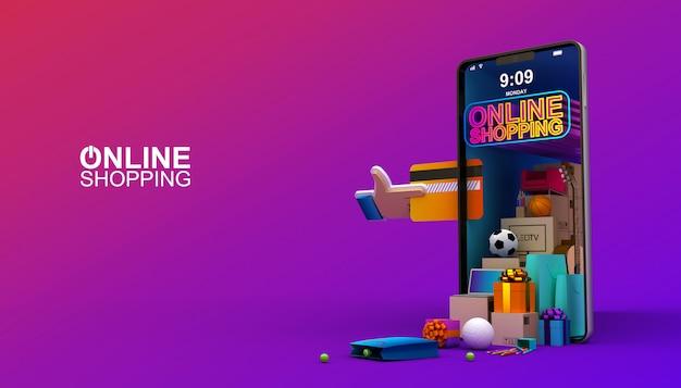 Online zakupy, mobilny zastosowanie, 3d renderingu ilustracja