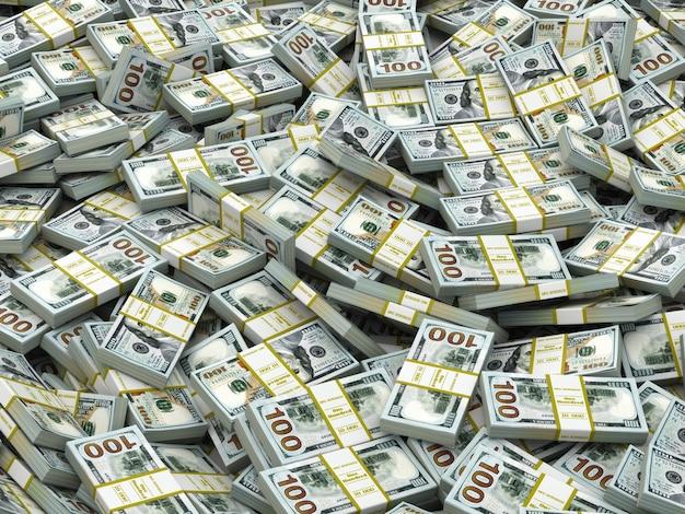 Opakowania dolarów tło. dużo gotówki. 3d