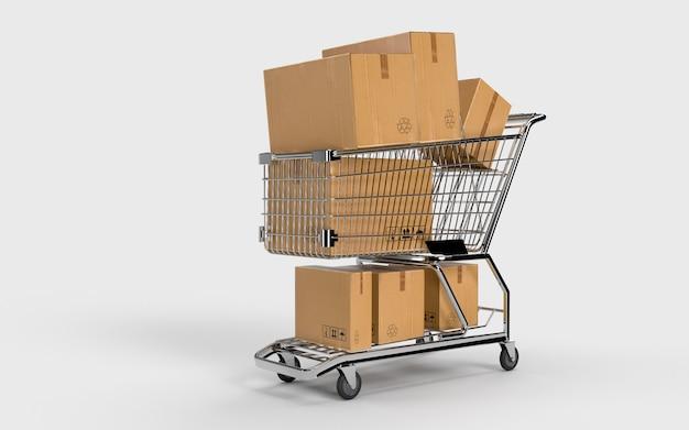 Opakowania kartonowe i koszyk czekają na szybką wysyłkę. przesyłka w branży e-commerce online do sprawdzenia przez konsumenta.