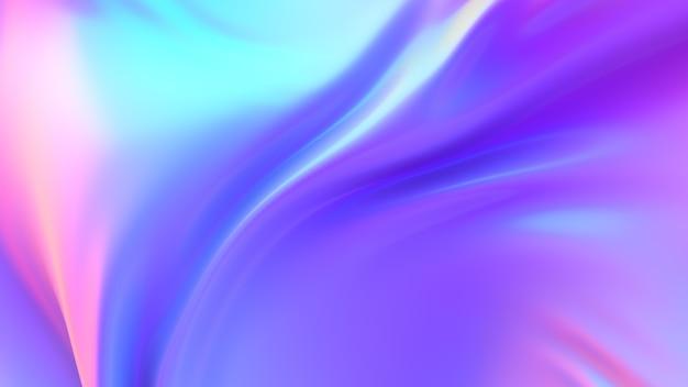 Opalizujący chrom falisty gradient tkaniny abstrakcyjne tło, tekstura folii holograficznej w ultrafiolecie, powierzchnia cieczy, zmarszczki, metaliczne odbicie. ilustracja renderowania 3d.