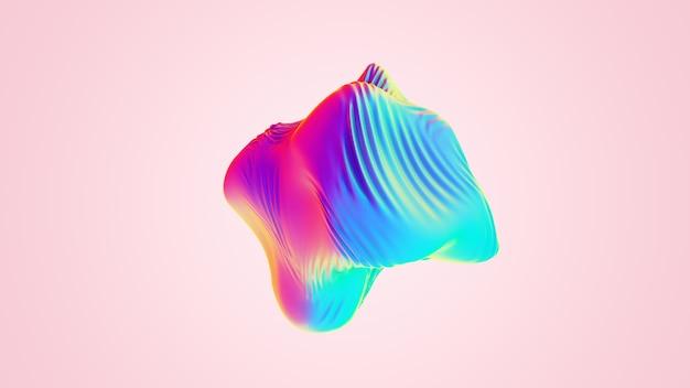 Opalizujący obiekt abstrakcyjny falistej kuli. kolorowa tekstura tkaniny z folii ultrafioletowej, powierzchnia cieczy, zmarszczki, metaliczne odbicie. do projektów kreatywnych: okładka, moda, internet. ilustracja renderowania 3d.
