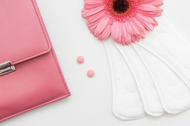 Opieka zdrowotna kobiety, ginekologia. zbliżenie miękkie podkładki dzienne, tabletki antykoncepcyjne i różowy worek na białym tle. antykoncepcja i regularny cykl, koncepcja równowagi hormonalnej