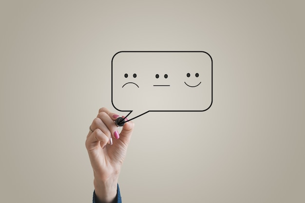Opinie klientów koncepcyjne obraz z uśmiechniętą, smutną i neutralną twarz symbol sporządzony w dymku.