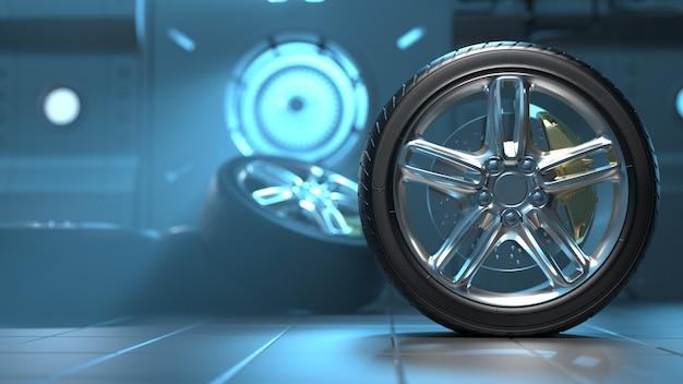 Opony samochodowe w futurystycznym pokoju felgi aluminiowe