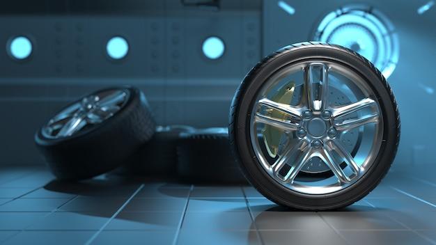 Opony samochodowe w futurystycznym pokoju