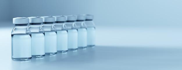 Opracowanie i stworzenie szczepionki na koronawirusa covid-19. koncepcja szczepionki przeciwko koronawirusowi. renderowanie 3d