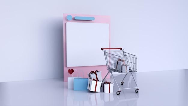 Oprawa social media instagram i koszyk z pudełkiem i torbą na zakupy, renderowanie 3d