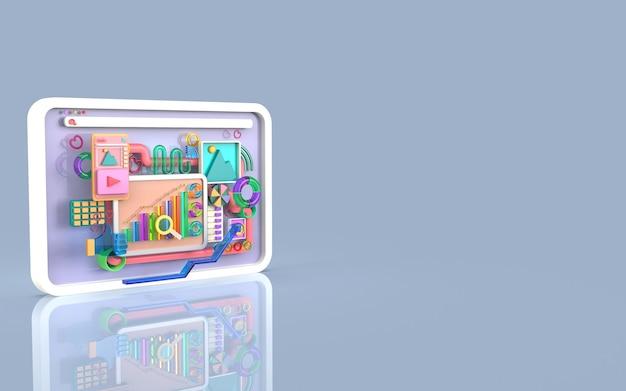 Oprogramowanie aplikacji mobilnych i tworzenie stron internetowych z renderowaniem infografiki wykresów słupkowych 3d