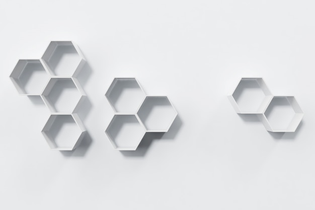 Opróżnia biel ścianę z sześciokąt półkami na ścianie, 3d rendering