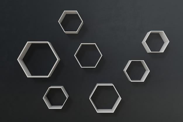 Opróżnia ciemną lub czarną ścianę z sześciokąt półkami na ścianie, 3d rendering