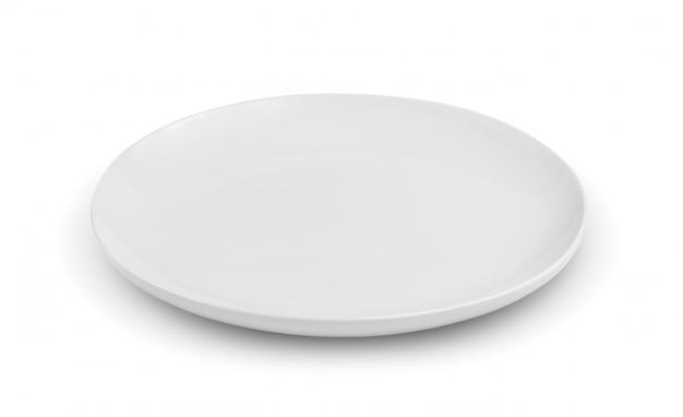 Opróżnia talerza odizolowywającego na białej przestrzeni