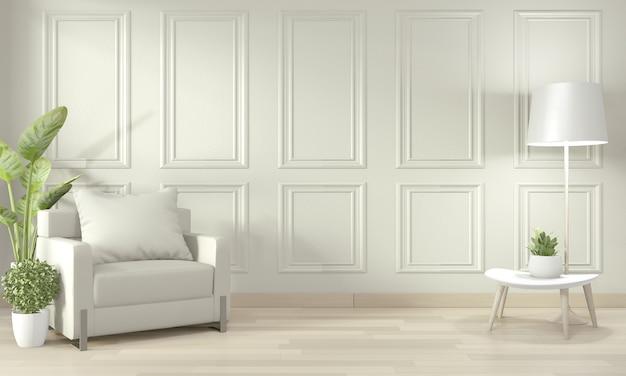 Opróżnij nowoczesny współczesny pokój i designerską ścianę z listwami, fotelem i dekoracjami