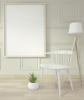 Opróżnij nowoczesny, współczesny pokój i zaprojektuj ścianę z listwami, makiety ramy plakatowej i krzesła