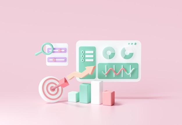 Optymalizacja 3d seo, analityka internetowa i koncepcja marketingu seo. ilustracja renderowania 3d