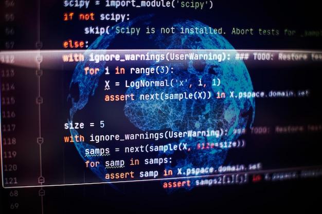 Optymalizacja seo. nowoczesna technologia. podświetlona składnia php. pisanie funkcji programowania na laptopie. trend big data i internet rzeczy.