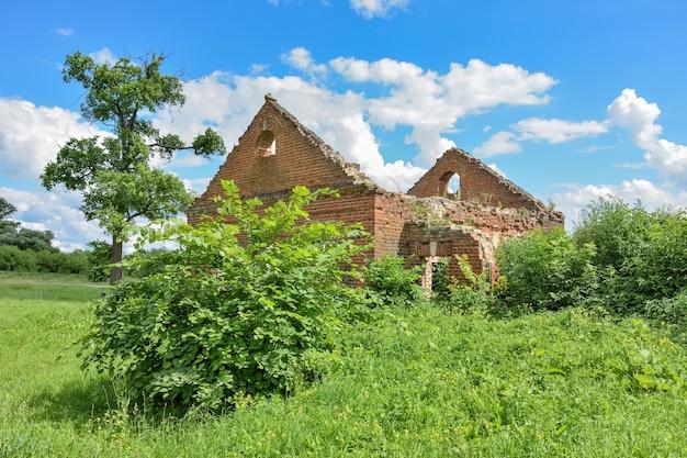 Opuszczone osiedle z czerwonej cegły otoczone zielenią na tle nieba