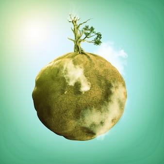 Opuszczony świat i suche drzewo