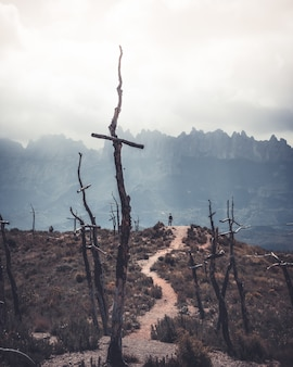 Opuszczony teren porośnięty suszoną trawą, górami i drewnianymi krzyżami z mężczyzną stojącym na wzgórzu