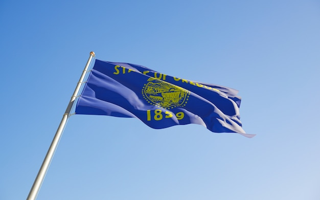 Oregon, flaga stanu usa, niski kąt