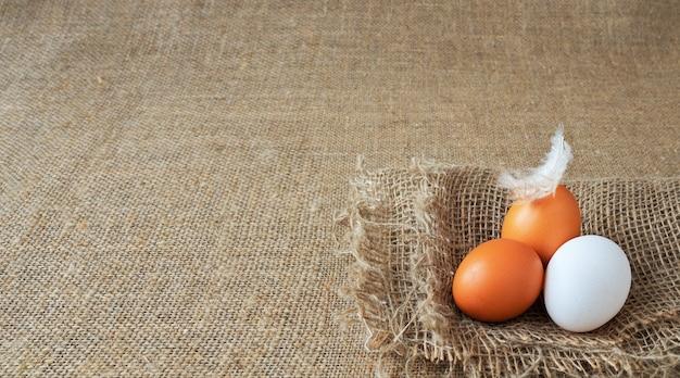 Organiczne brązowe i białe jajka z kurczaka