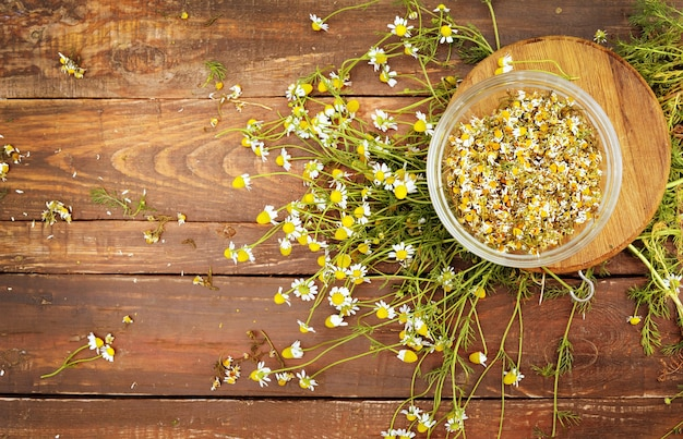 Organiczne kwiaty rumianku na drewnianym stole płaski widok świecki