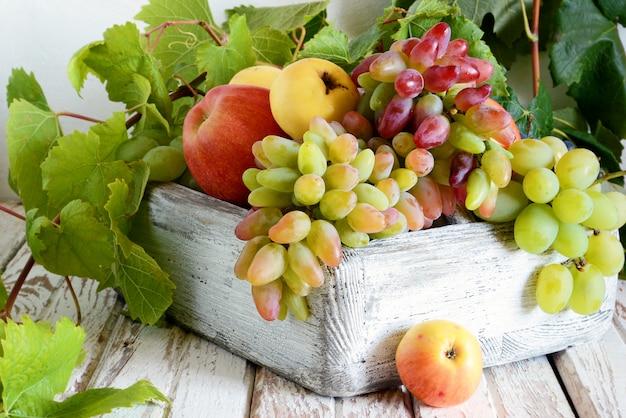 Organiczne owoce w drewnianej skrzyni. kiście dojrzałych winogron i jabłek. letnie zbiory owoców