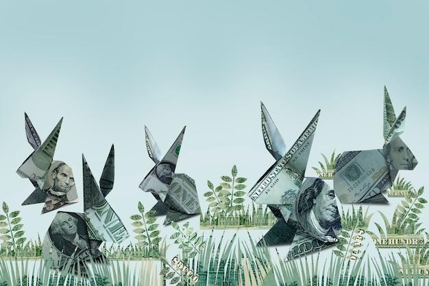 Origami królik banknot na wielkanoc
