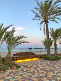Orihuela costa alicante hiszpania czerwiec plaża campoamor pusta w godzinach wieczornych