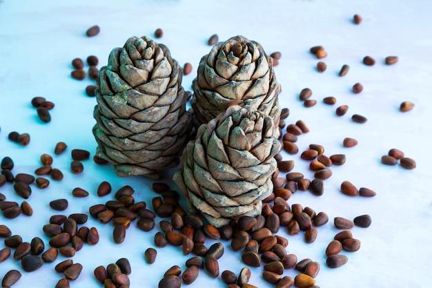 Orzechy sosnowe. orzeszki piniowe i szyszki na drewnianym stole. nasiona sosny syberyjskiej w łupinie. odpowiednie odżywianie