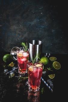 Orzeźwiający alkoholowy koktajl z czerwonej żurawiny i limonki z rozmarynem i lodem, dwie szklanki