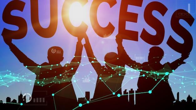 Osiągnięcie i sukces biznesowy cel koncepcyjny.