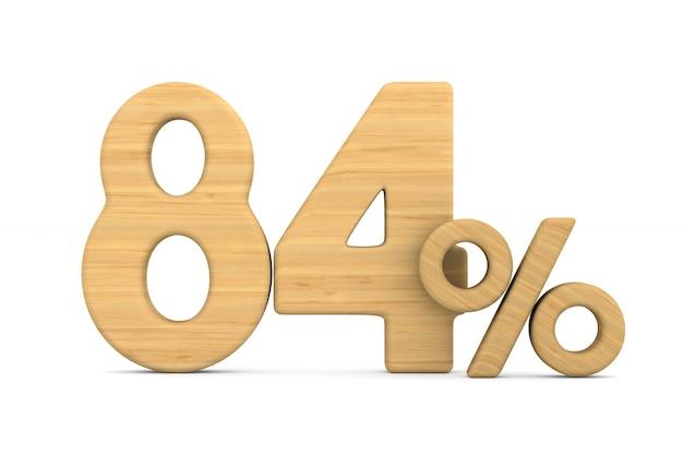 Osiemdziesiąt cztery procent na białym tle.