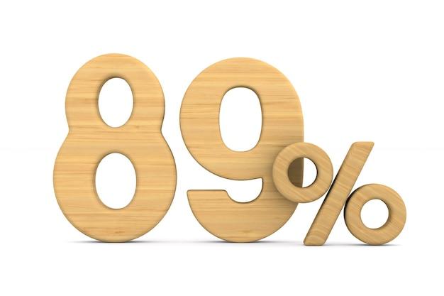 Osiemdziesiąt dziewięć procent na białym tle.