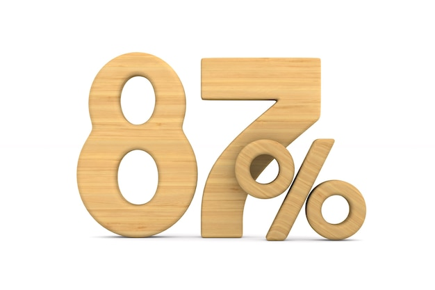 Osiemdziesiąt siedem procent na białym tle.