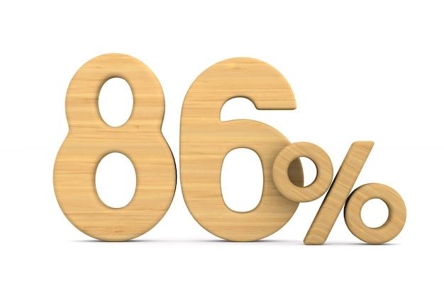 Osiemdziesiąt sześć procent na białym tle.