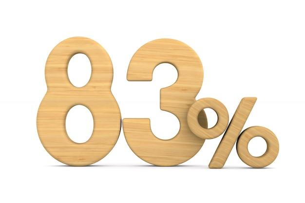 Osiemdziesiąt trzy procent na białym tle.